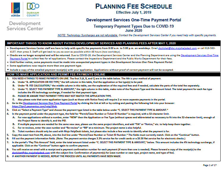 Planning temporary fee schedule thumbnail image